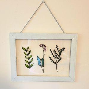 Distressed Frame with Plexiglass Print of Flowers